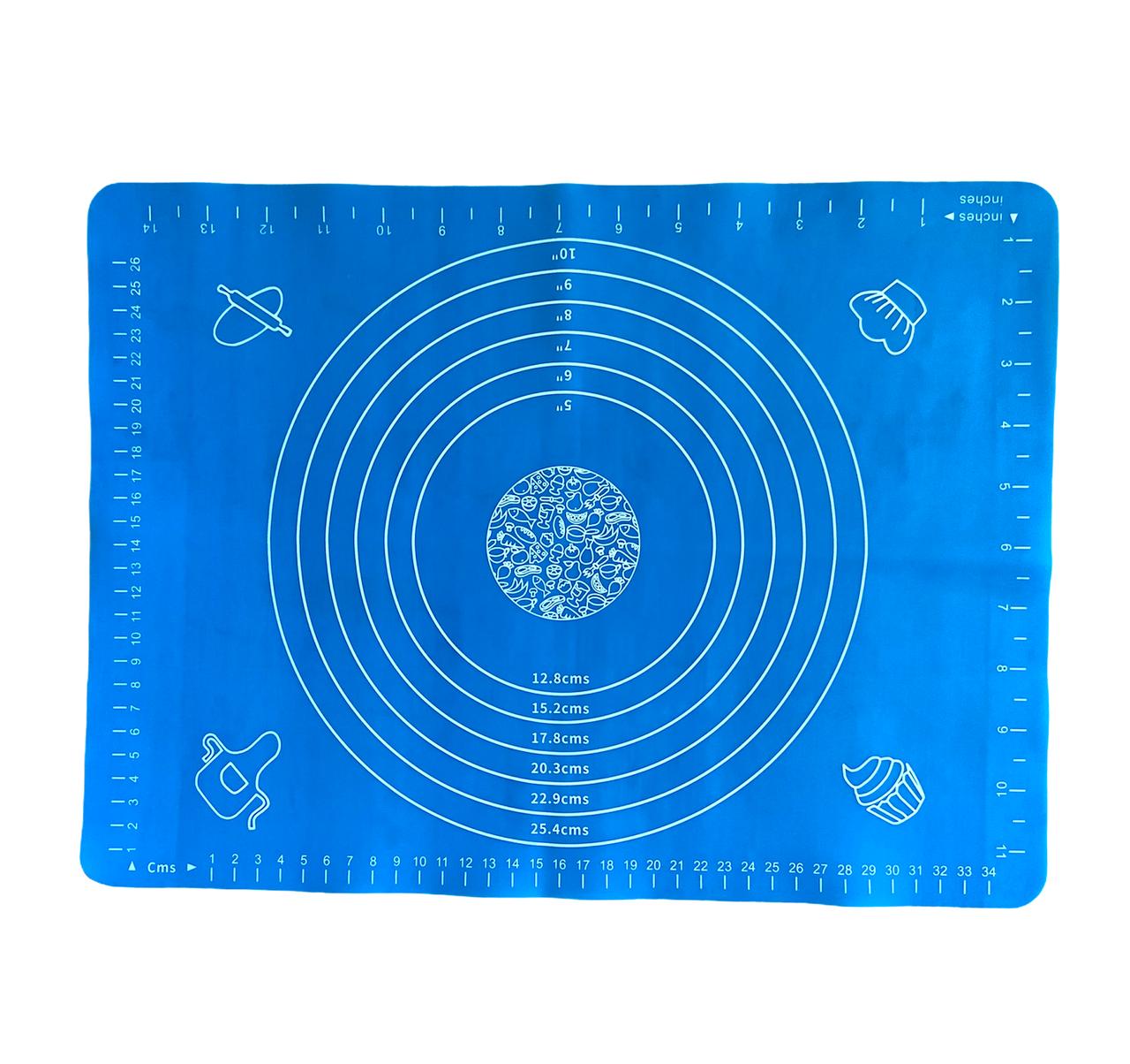 Силиконовый коврик Ytech для раскатки теста 30 х 40 см голубой