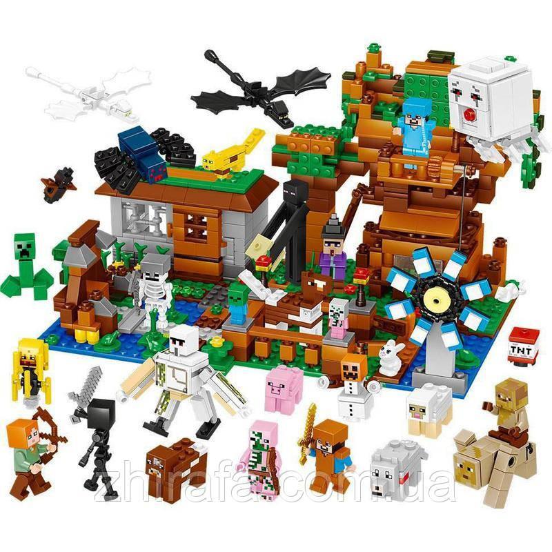 Конструктор Майнкрафт Лего Minecraft Велика компанія Стіва. 26 фігурок. 986 дет