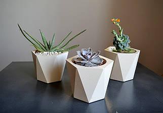 Бетонну геометричне кашпо /бетонний горщик /Бетонна ємність для рослин/Кашпо для кімнатний рослин