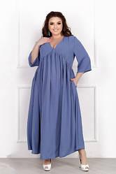 Женское голубое весеннее платье свободного кроя батал