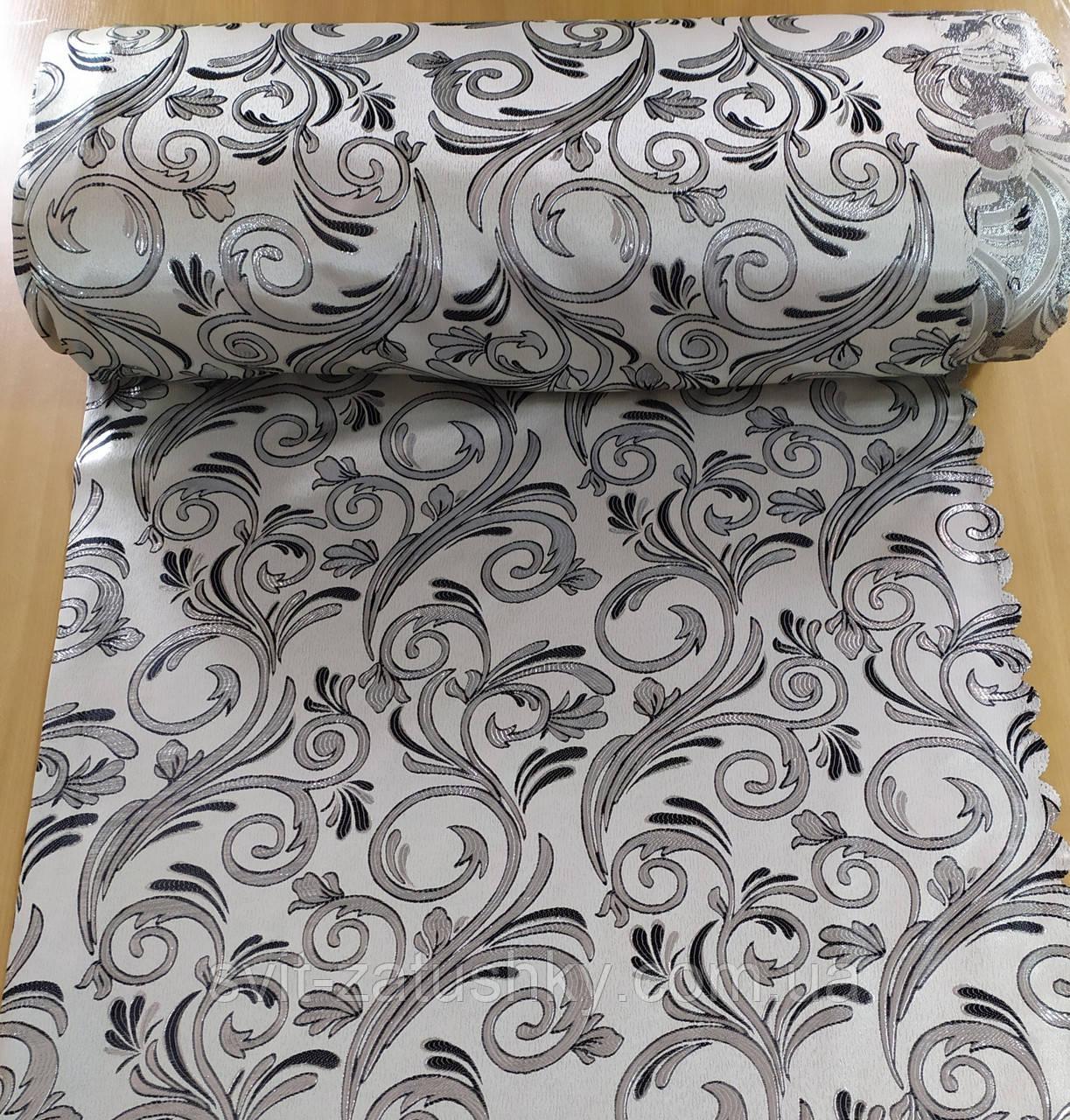 Портьєрна тканина сіра з узором шириною 1.50 м