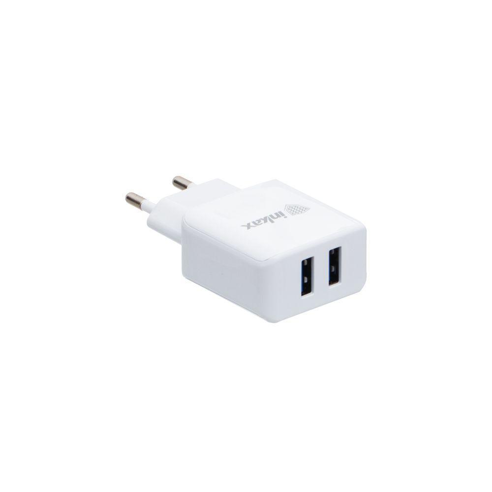 Зарядное устройство Inkax CD-01 2.4A 2 USB с кабелем Type C Белый (MMA00000019107)