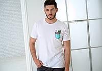 Мужская белая футболка, карман с фламинго
