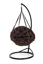 Підвісне крісло гамак для дому та саду з великою круглою подушкою 96 х 120 см до 120 кг коричневого кольору