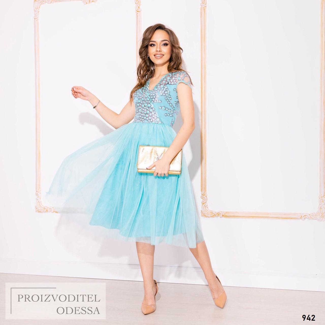 Сукня вечірня міді розкльошені мереживна вишивка розшита пайеткой S M L