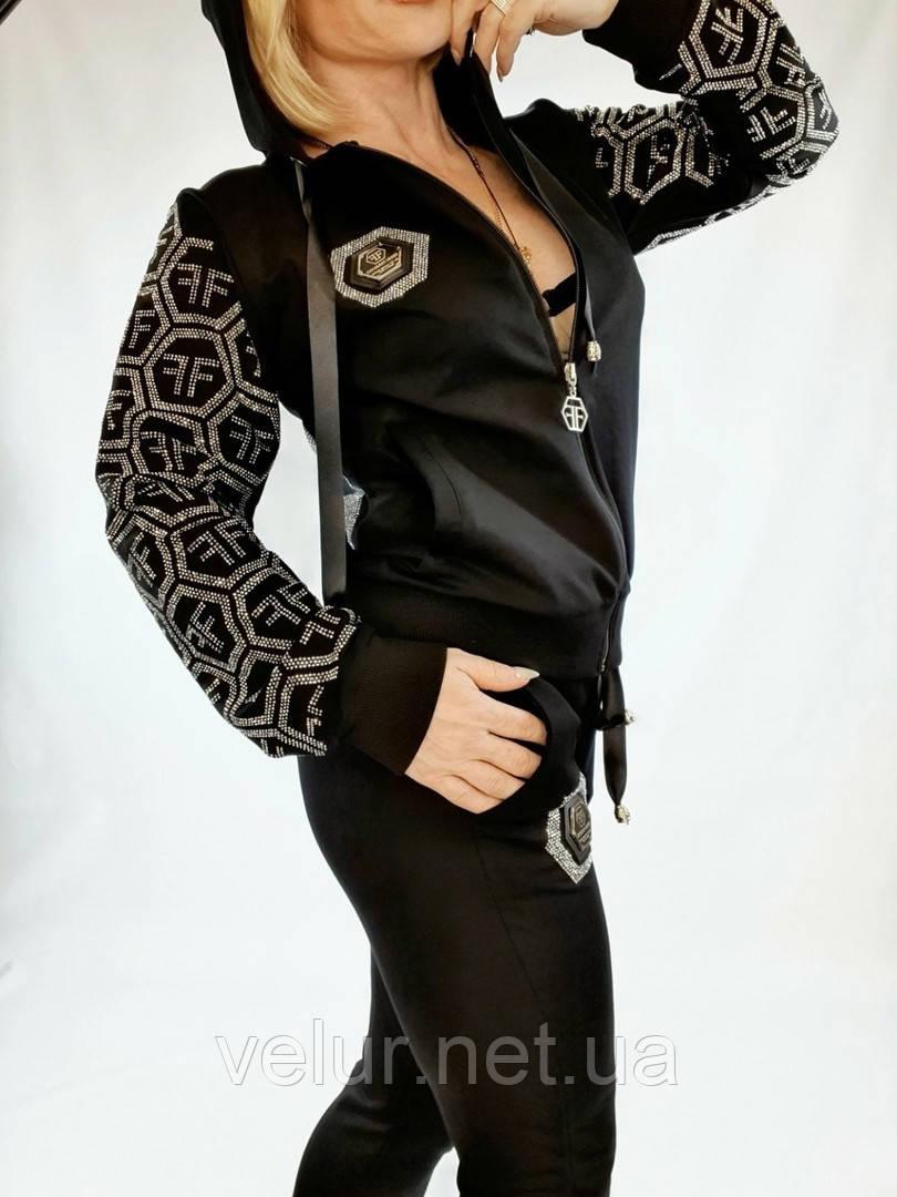 Жіночий чорний спортивний костюм (Туреччина ); Розміри: 2ХЛ,3ХЛ,4ХЛ,5ХЛ ( повномірні)