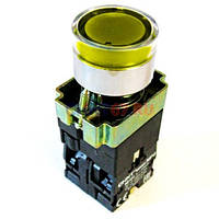 Кнопка NP2-BW3565 (1NO+1NC) 230V LED жёлтая мет. СНІNT