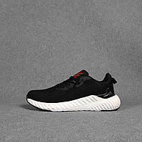 Мужские кроссовки Adidas (черные с красные) O10439 стильные кроссы на пене для парней