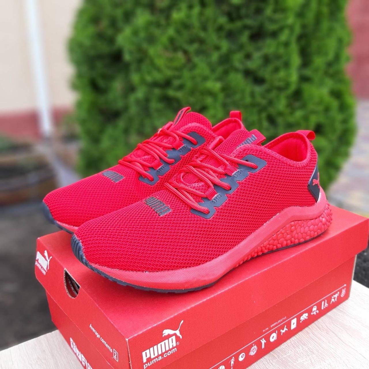 Puma Hybrid мужские летние красные кроссовки на шнурках. Весенние мужские на сетке кроссы.