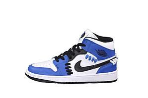 Жіночі кросівки Nike Air Jordan 1 Retro (білі з синім і чорні) К12522 стильні спортивні високі кроси