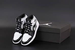 Жіночі кросівки Nike Air Jordan 1 Retro (білі з сірим і чорним) К12524 високі спортивні кроси