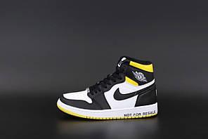 Жіночі кросівки Nike Air Jordan 1 Retro (білі з жовтим та чорним) К12525 модні спортивні кроси