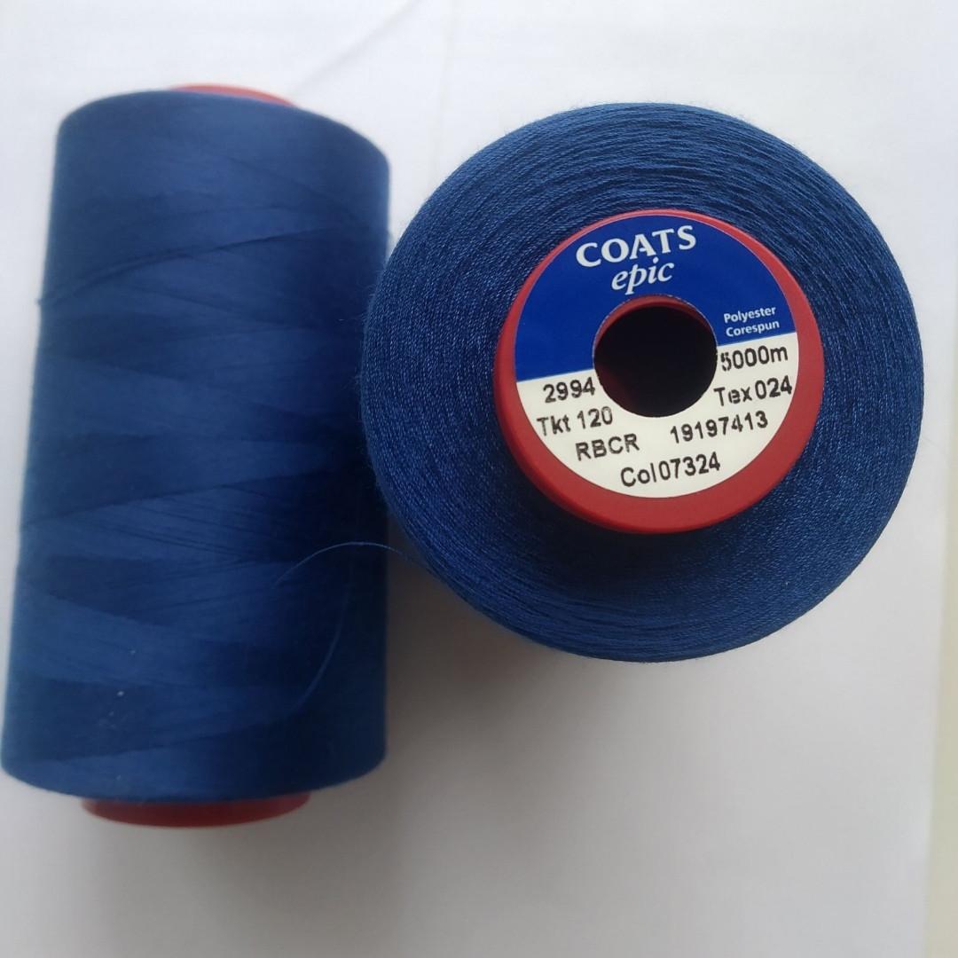 Нитки Coats Epic 07324 / 120, 5000м синій електрик