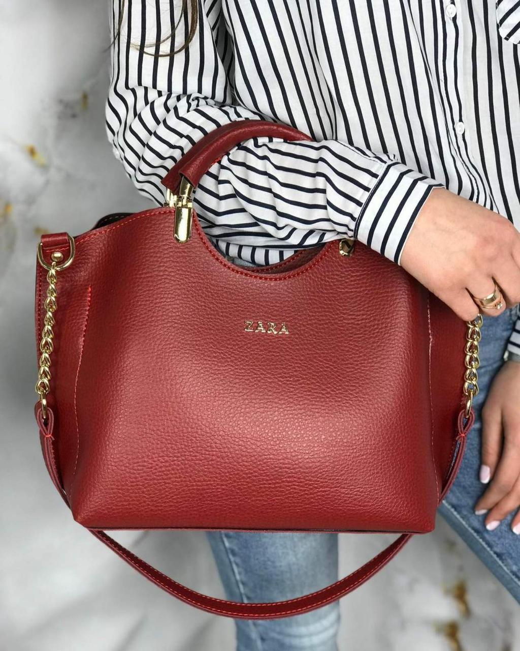 Сумка красная женская небольшая седняя модная на плечо шоппер кожзам