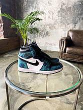 Жіночі кросівки Nike Jordan 1 Retro High Tie Dye (чорні з білим) К2307 стильні повсякденні кроси
