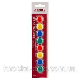 Набор магнитов в цветном пластиковом корпусе, круглые, диаметром 20 мм. 4 цвета: зелёный, жёлтый, красный, син