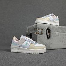 Жіночі кросівки Nike Air Force 1 Shadow (білі з бежевим і бузковим) О20361 весняні якісні кроси