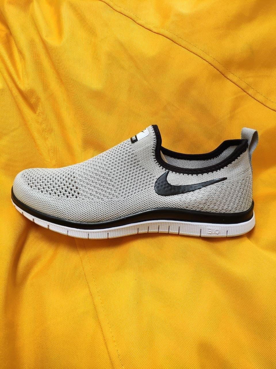 Мужские кроссовки Nike Free Run 3.0 без шнурков (серые) D101 стильная легкая обувь