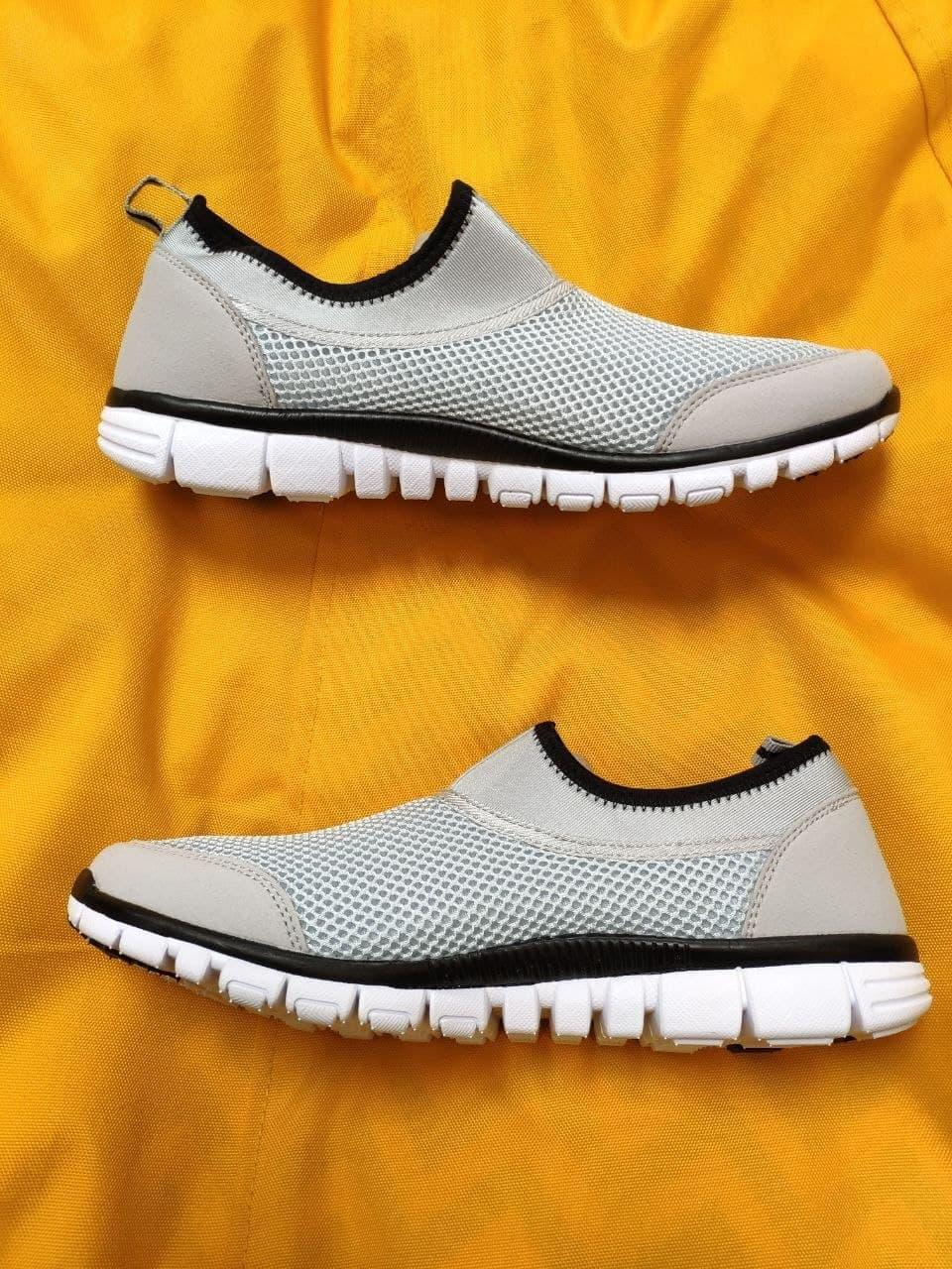 Мужские кроссовки Nike без шнурков (серые) D102 модная летняя легкая обувь