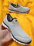 Мужские кроссовки Nike без шнурков (серые) D102 модная летняя легкая обувь, фото 9