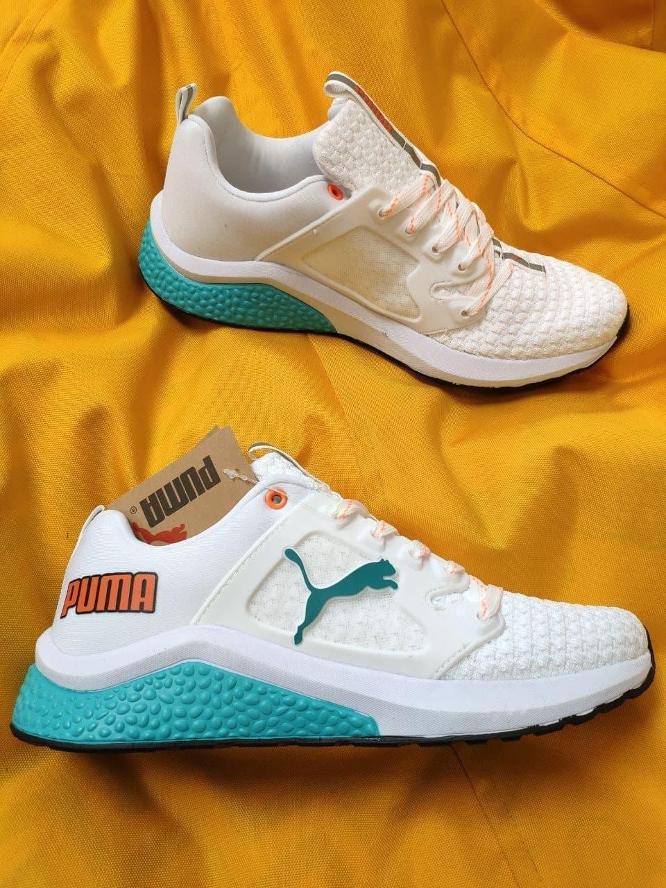 Мужские кроссовки Puma Hybrid (бело-бирюзовые) D103 весенние спортивные кроссы