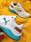 Мужские кроссовки Puma Hybrid (бело-бирюзовые) D103 весенние спортивные кроссы, фото 5