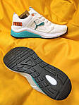 Мужские кроссовки Puma Hybrid (бело-бирюзовые) D103 весенние спортивные кроссы, фото 8