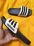 Мужские шлепки Adidas (черно-белые) D106 модные легкие тапочки, фото 3