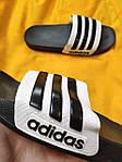 Мужские шлепки Adidas (черно-белые) D106 модные легкие тапочки, фото 5