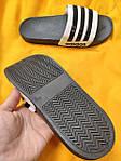 Мужские шлепки Adidas (черно-белые) D106 модные легкие тапочки, фото 7