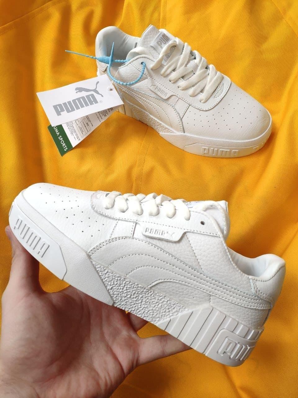 Женские кроссовки Puma cali (Белые) D107 спортивные демисезонные кеды для девушек