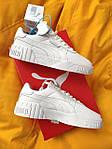 Женские кроссовки Puma cali (Белые) D107 спортивные демисезонные кеды для девушек, фото 3