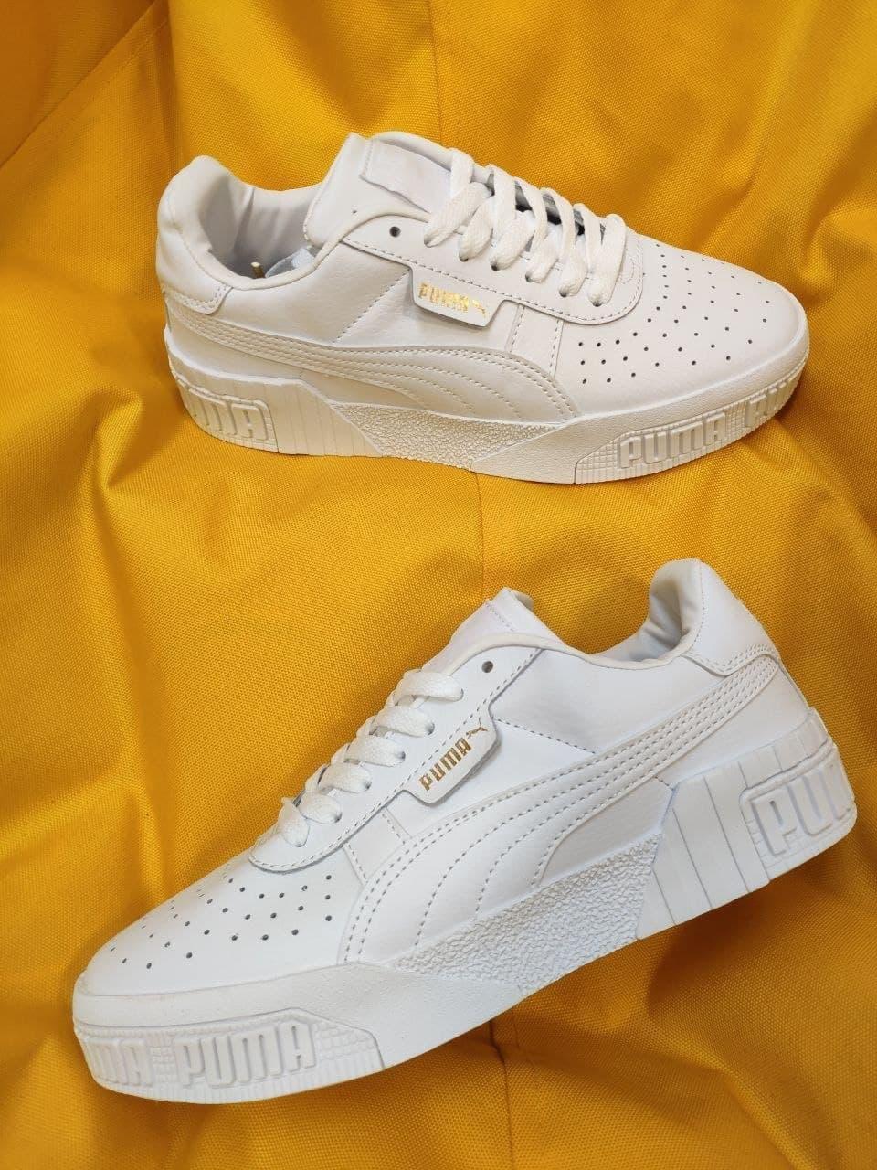 Женские весенние кроссовки Puma cali (Белые) D92 спортивные стильные кеды для девушек