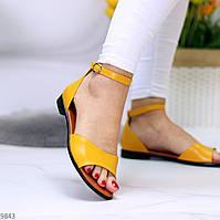 Элегантные закрытые желтые женские босоножки натуральная кожа низкий ход