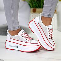 Эффектные белые красные кроссовки крипперы на платформе натуральная кожа + сетка 39-24,5см