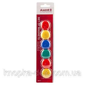 Набор магнитов в цветном пластиковом корпусе, круглые, диаметром 30 мм. 4 цвета: зелёный, жёлтый, красный, син