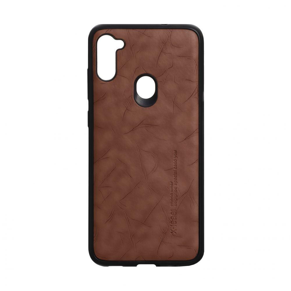 Чехол для SAMSUNG A11 / M11 коричневый Leael Color /  Чехол для САМСУНГ a11