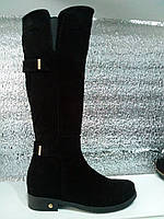 Сапоги ботфорты замшевые зимние на низком каблуке натуральная замша