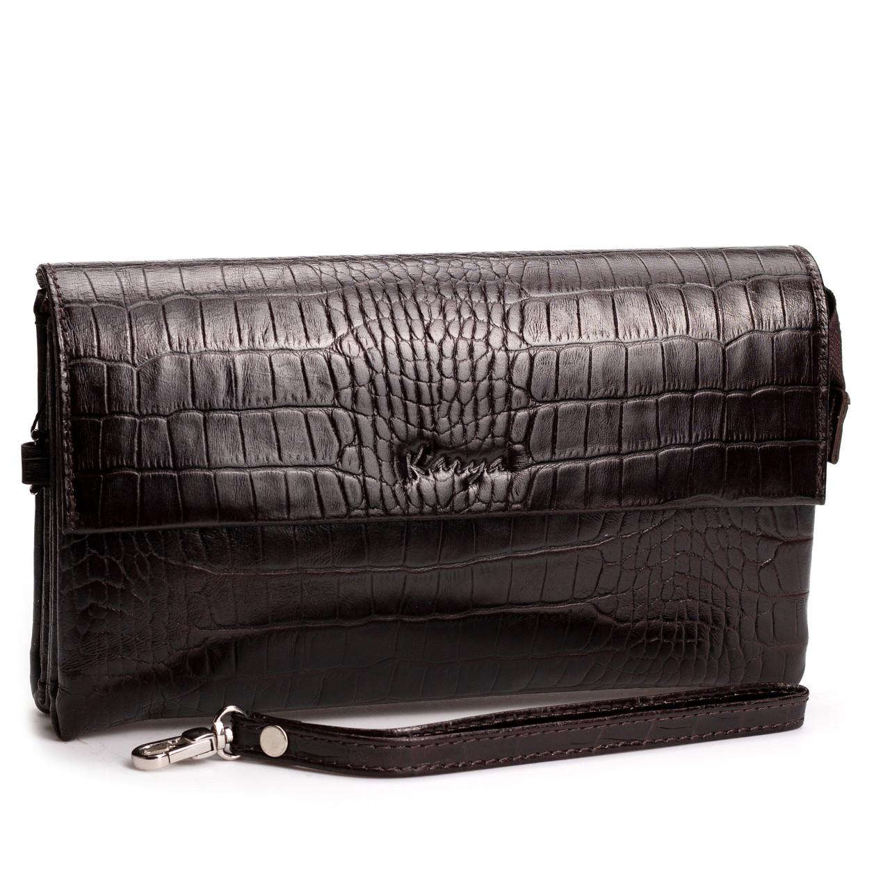 Чоловіча сумка шкіряна барсетка коричнева Karya 0696-57