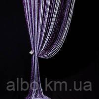 Штори нитки веселка дощ з люрексом 300x280 cm Фіолетово-бузково-білі (NL-312), фото 2