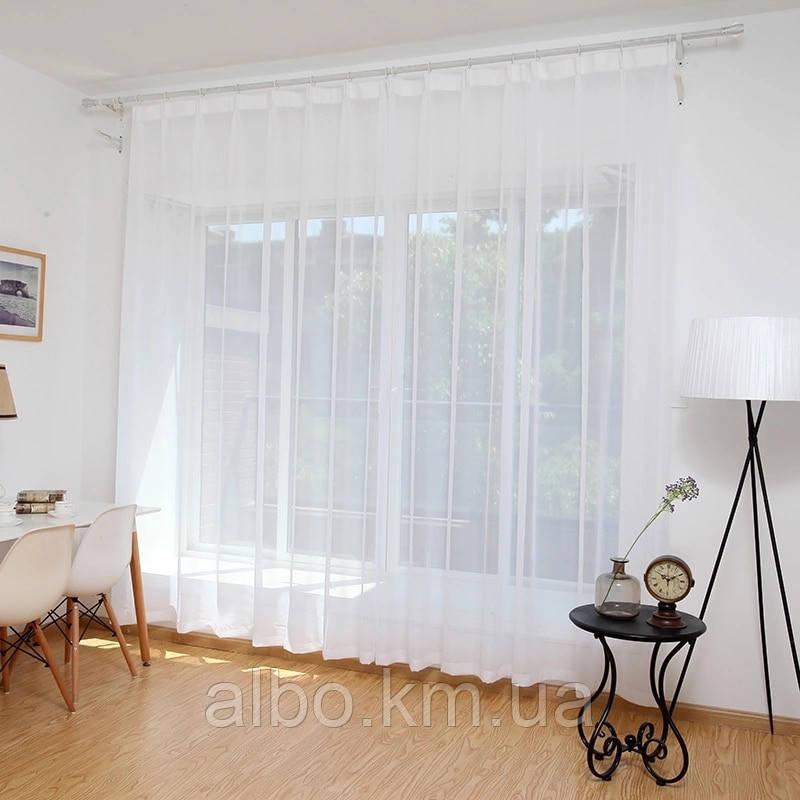 Стильна тюль в зал кімнату квартиру шифон, біла тюль для залу спальні кухні, готовий тюль для спальні кухні дитячої ALBO 500x270
