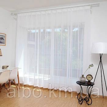 Тюль в зал без штор из турецкого шифона ALBO 500x270 cm Белая (T-T-5)