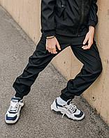 Штаны карго черные на манжетах для мальчиков с карманами из Soft Shell, весна осень