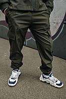 Модные брюки карго с карманами для мальчиков с манжетами хаки из Soft Shell, весна осень