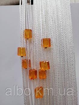 Кисея шторы с камнями радуга 300x280 cm Белый-оранжевый (NK-5010)