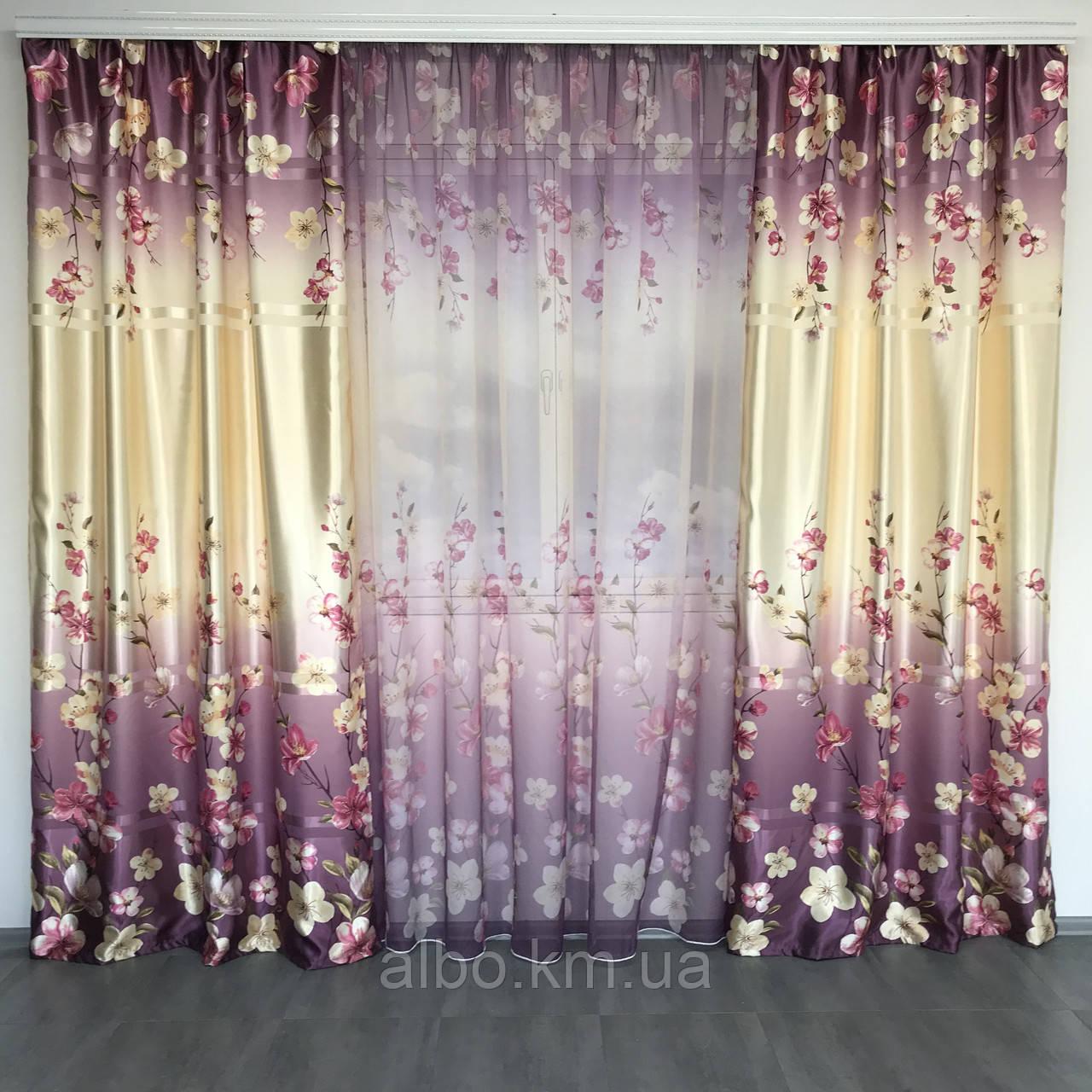 Штори з квітковим принтом в кімнату спальню зал, атласні штори для будинку кухні дитячої, штори і тюль з атласу для залу спальні