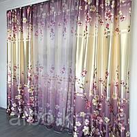 Штори з квітковим принтом в кімнату спальню зал, атласні штори для будинку кухні дитячої, штори і тюль з атласу для залу спальні, фото 3