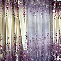 Штори з квітковим принтом в кімнату спальню зал, атласні штори для будинку кухні дитячої, штори і тюль з атласу для залу спальні, фото 4