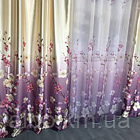 Штори з квітковим принтом в кімнату спальню зал, атласні штори для будинку кухні дитячої, штори і тюль з атласу для залу спальні, фото 5