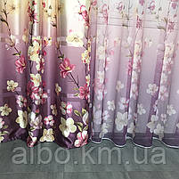 Штори з квітковим принтом в кімнату спальню зал, атласні штори для будинку кухні дитячої, штори і тюль з атласу для залу спальні, фото 6